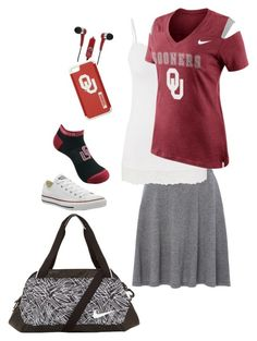 """""""Sooners"""" by lizardbeth95 on Polyvore featuring La Fée Maraboutée, maurices, NIKE, Converse, Mizco and Forever Collectibles"""