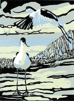 Two Avocets in June by Max Angus