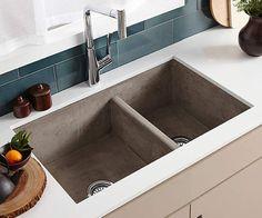 "Native Trails NSKD3321 Farmhouse 33"" Double Basin NativeStone Kitchen Sink for U Ash Fixture Kitchen Sink Stone"