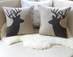 Deer Head Pair, Decorative Pillow Covers, Stag Silhouette Appliqué, Sandstone & Espresso, Rustic Woodland, Luxe Lodge - 18x18 - 20x20