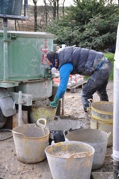 Mixing hempcrete in a large pan mixer. This is the usual method since large…