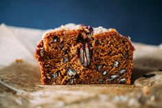 A simple spiced pumpkin pecan bread recipe with a crunchy, sugary topping.