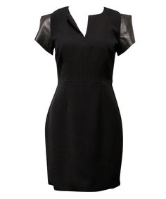 Narcissus leather cap sleeve dress