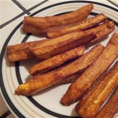 *********FRIED GREEN BANANAS - I've never tasted better, nor more nutritious, fries. Green bananas do not have a strong banana flavor at all. It's very deceptive and very healthy. I couldn't stop eating them. Seasoned French Fries Recipe, Vegan Recipes, Cooking Recipes, Alkaline Recipes, Alkaline Foods, Grilling Recipes, Yummy Recipes, Diet Recipes, Cooking Bananas