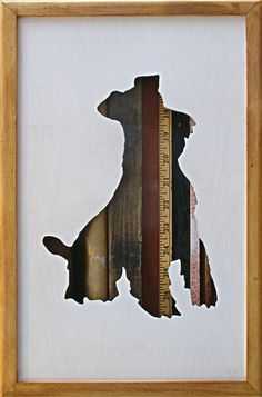 """Schnauzer wood art silhouette with scrap wood- 17"""" by 11"""""""