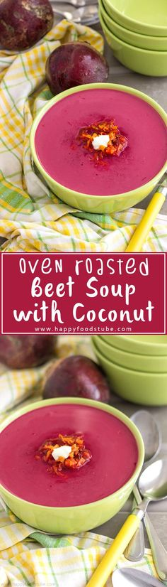 Oven roasted beet soup is a healthy soup with earthy, sweet flavor & a hint of coconut. Another simple vegetarian recipe with lots of flavors is a must-try this fall! | happyfoodstube.com