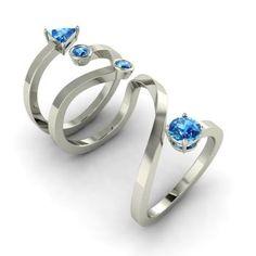Fancy-Cut Blue Topaz Sophie Ring in 14k White Gold