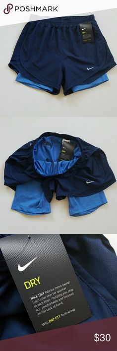 NWT Nike Built-in Compression Sports Shorts New Nike workout shorts with build in spandex shorts. Adjustable string waistband and small pocket inside. Nike Shorts