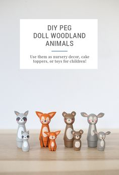 Make these cute little DIY peg doll animals to use as cake toppers, nursery decor, or even toys for a child. Whip up an entire little forest!