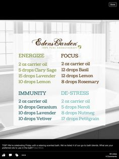 Edens Garden bath oil recipes Neroli Essential Oil, Essential Oil Blends, Neroli Oil, Doterra Essential Oils, Living Oils, Edens Garden Oils, Edens Garden Essential Oils, Aromatherapy Oils, Bath Recipes