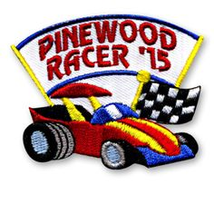 2 x 2 1/2 Inches **IRON-ON backing for easy & Snappy application** This years Pinewood Racer '15 fun patch is bright and colorful! Use this fun patch to commemorate your groups Pinewood Racer event this year. http://www.snappylogos.com/Pinewood-Racer-15-Fun-Patch/productinfo/3469/