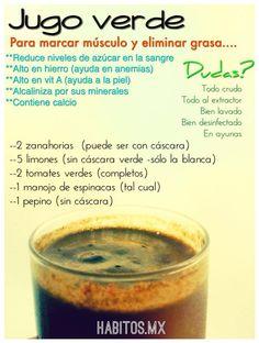 Jugo verde para MARCAR MÚSCULO Y ELIMINAR GRASA: zanahorias, limones, tomates, espinacas y pepino