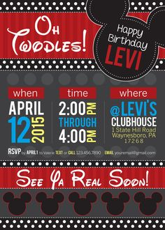 This fun, Oh Twodles Mickey Mouse Clubhouse themed invitation is fully editable with your information. Just provide what you would like written