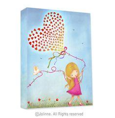 Girls room wall art, canvas print gallery wrap, children room art, kids decor, nursery wall art, nature, blue, heart balloon. $39.00, via Etsy.