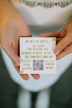 """in lieu of gifts"" card that redirects guests to favorite charities, photo by CarolineRo http://ruffledblog.com/charity-inspired-wedding-ideas #wedding #charity #weddinggifts"