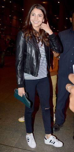 Anushka Sharma at Mumbai airport. #Bollywood #Fashion #Style #Beauty #Cute