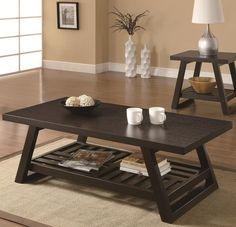 Amazon.com - Coaster Home Furnishings 701868 Casual Coffee Table, Cappuccino - Dark Brown Wood Coffee Table