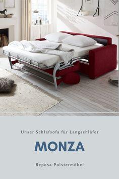 Unser Schlafsofa MONZA ist euer zuverlässiger Begleiter für lange Nächte. Mit seiner integrierten Matratze eignet es sich auch hervorragend in kleinen #wohnungen als Bett und Sofa in einem. #polstermöbel #wohnen #einrichtung #schlafsofa #sofa #gästebett #modern #interiordesignlivingroom #livingroom #livingroomfurniture #gästezimmer #wohnideen #wohnungeinrichten #upholstery #sofaideas Retro Sofa, Kids Rugs, Home Decor, Padua, Comfy Sofa, Bed Mattress, Modern Sofa, Apartments, Living Room