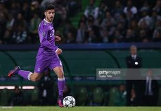 Real Madrid's midfielder Marco Asensio from Spain in action during the UEFA Champions League match between Sporting Clube de Portugal and Real Madrid CF at Estadio Jose Alvalade on November 22, 2016 in Lisbon, Portugal.
