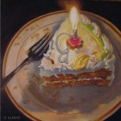 Happy Birthday to ME birthday cake with candle oil painting 5-Oh, painting by artist JEANNE ILLENYE