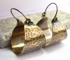 Hammered Bronze Basket Hoop Earrings, Forged Bronze Earrings