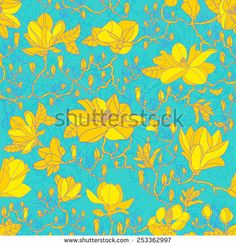 Magnolia flowers on a branch, textiles seamless pattern - stock vector
