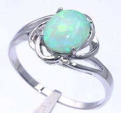 Green Fire Opal Women Fashion Jewelry Gemstone Silver Ring Size 7 OJ6502 #Handmade #Ring