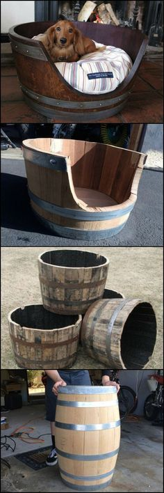 DIY Dog Beds - DIY Wine Barrel Dog Bed - Projects and Ideas for Large, Medium and Small Dogs. Cute and Easy No Sew Crafts for Your Pets. Diy Pet, Diy Dog Bed, Wood Dog Bed, Pet Beds Diy, Pallet Dog Beds, End Table Dog Bed, Bed Table, Wine Barrel Dog Bed, Wine Barrel Table