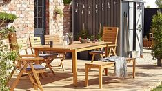 """""""Denia wooden six seater dining set with backless bench"""""""
