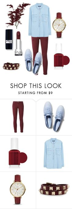 """""""Untitled #47"""" by dinaikanovic ❤ liked on Polyvore featuring IRO, Keds, Essie, Violeta by Mango, FOSSIL and Valentino"""