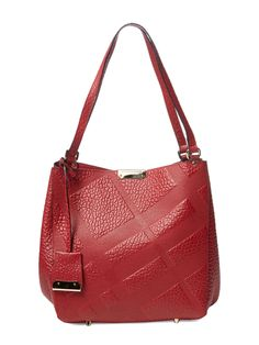 Medium Canter Embossed Check Leather Tote