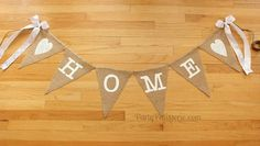 HOME Burlap Banner with Bows