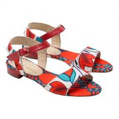 Red, White and Azure Canvas and Leather Flat Sandals