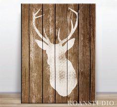 Jeleń na drewnie 30x40 druk na płótnie. w Roanstudio na DaWanda.com