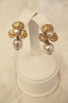 Vintage Art Nouveau Style 1940s Miriam Haskell Faux Baroque Pearl Floral Drop Earrings, $95