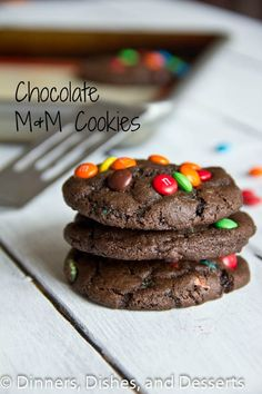 Chocolate M & M Cookies Recipe ~ Seriously, soft, chewy, and chocolate-y~