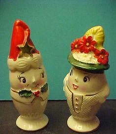 Vintage  Mr Salt and Mrs Pepper Egg Head Beautiful Christmas Shakers  | eBay