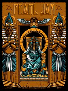 "Official Pearl Jam Poster  North Carolina 4-20-2016  ( Cancelled Show )  18"" x 24""  8 color screen print with metallic gold/blue inks  Signed and numbered artists edition of 100  by Mike Fudge"