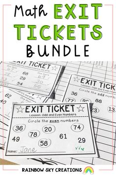 Our Math Exit Tickets bundle includes number sense exit tickets suitable for Grades 1, 2, 3, 4 and 5. Each pack includes over 32 different math exit tickets to assess your students understanding of number and place value. Easy to implement pre-test, post-assessment, lesson plenary or as class warm-ups. Kindergarten Math Activities, Math Resources, Teaching Math, Teaching Ideas, Primary Maths, Primary Classroom, Fifth Grade, Grade 3, Professional Development For Teachers