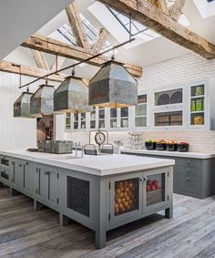 Large farmhouse kitchen with gray cabinets and modern industrial pendant lights - Farmhouse Kitchen Ideas & Vintage Modern Kitchen Decor
