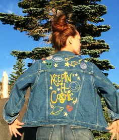 Keepin' It Cosmic Hand-Embroidered Denim Jacket 2019 clothing clothing labels clothing patches clothing wholesale flower clothing fly shirts shirts for ladies shirts sunshine coast style clothing tee shirts clothing Sommer Garten Hochzeits Kleider Denim Jacket Embroidery, Embroidered Denim Jacket, Embroidered Clothes, Jean Embroidery, Painted Denim Jacket, Painted Jeans, Painted Clothes, Denim Jacket With Patches, Customised Denim Jacket