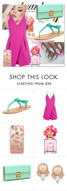 """Pink And Green!!"" by melissakeane ❤ liked on Polyvore featuring beauty, NYX, K. Jacques, Topshop, Casetify, Marc Jacobs, Dasein and Carolee"