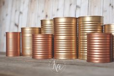 Copper Spray Paint Colors – KA Styles Copper and gold painted tin cans. Copper Spray Paint Colors – KA Styles Copper and gold painted tin cans. Gold Wedding Decorations, Gold Wedding Theme, Purple Wedding Flowers, Rustic Wedding Centerpieces, Wedding Rustic, Diy Wedding, Trendy Wedding, Wedding Ideas, Wedding Blue
