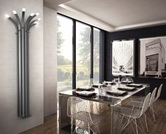 Radiator Palma - Metal elements and cold colors will look great together in modern dining room.