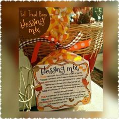 Printable Blessing Mix INSTANT DOWNLOAD Thanksgiving favors,  Thanksgiving labels, gift tags