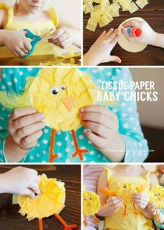 40 Simple Easter Crafts for Kids - Tissue Paper Baby Chicks Spring Crafts For Kids, Easter Crafts For Kids, Toddler Crafts, Preschool Crafts, Art For Kids, Kid Crafts, Bunny Crafts, Easter Crafts For Preschoolers, Kindergarten Crafts