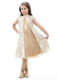 Glass nylon with gold lamme' appliqué and Tinsel chiffon Anarkali set with Stretch net pajama Baby Girl Frocks, Frocks For Girls, Kids Frocks, Little Girl Dresses, Girls Dresses, Frock Fashion, Girl Fashion, Kids Dress Collection, Kids Ethnic Wear