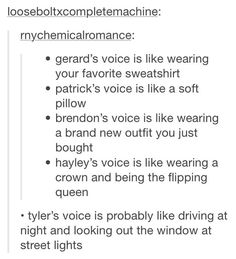 Except I think Patrick's voice is like a sunset