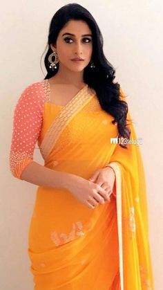 Regina Cassandra, gorgeous in bright n beautiful saree and blouse, Indian Fashion via @topupyourtrip