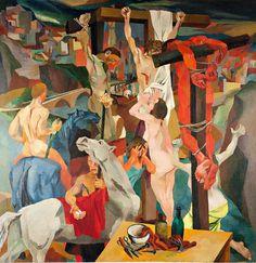 Renato Guttuso, Crocifissione, 1940-1941 olio su tela, Roma, GNAM - Galleria Nazionale d'Arte Moderna e Contemporanea.  #BellezzadivinaFi